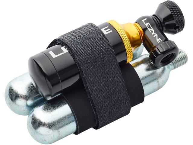 Lezyne Tubeless CO2 Blaster Sistema di riparazione pneumatici incluse 2 cartucce di CO2, black/gold